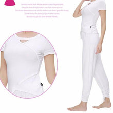 Load image into Gallery viewer, Irregular Parting Line Suit Women Yoga Top And Trousers