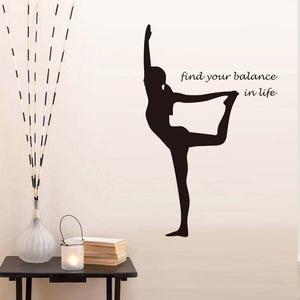 Removable Cool Vinyl Wall Sticker Yoga Wall Decal Balance Sticker Art Decor Bedroom Buddha Namaste Peace Lotus Flower Om Ohm