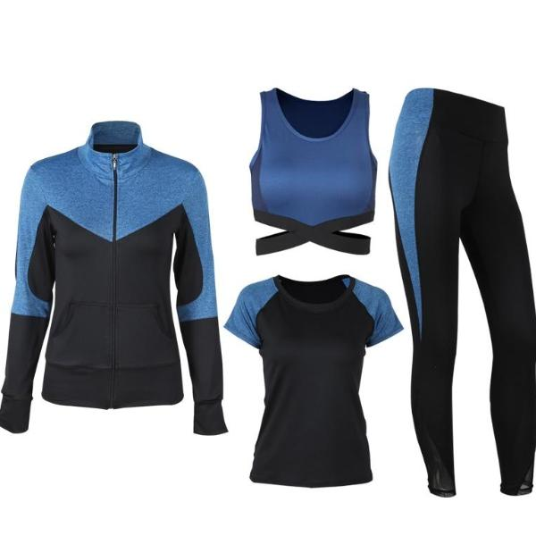 Black and Blue Breathable Yoga Fitness Set