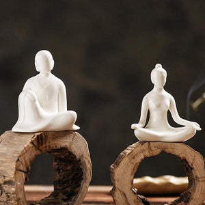 Porcelain Couple Yoga Decoration