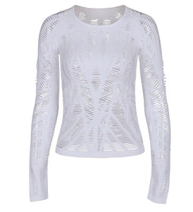 Hollow Out Full Sleeve Sports Top