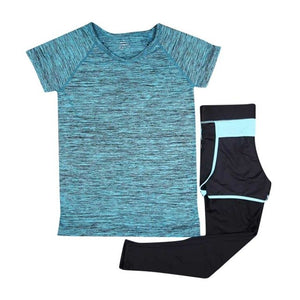 2 Pieces Set Yoga Shirt+Capris