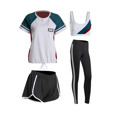 2018 summer women yoga sets 4 pieces sportswear bra+T-shirt+shorts+leggings breathable gym sports clothing M-2XL running suit