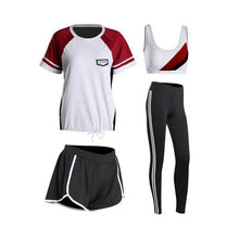 Load image into Gallery viewer, 2018 summer women yoga sets 4 pieces sportswear bra+T-shirt+shorts+leggings breathable gym sports clothing M-2XL running suit