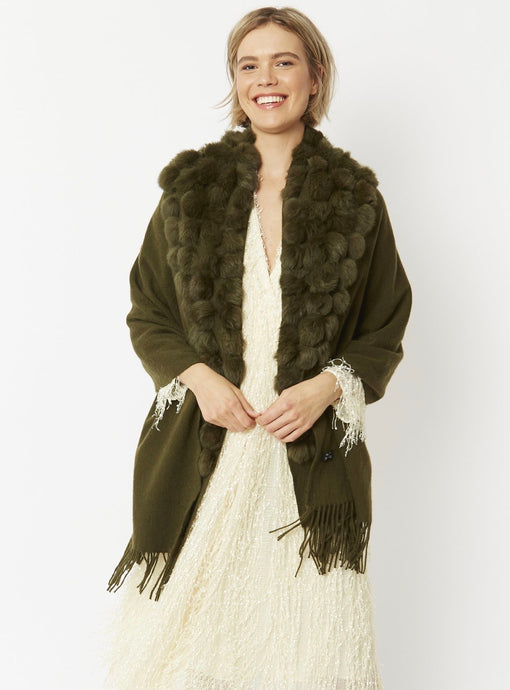 Jayley Collection Long pure wool wrap with coney fur pom poms Green