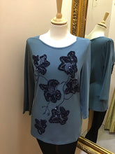 Barbara Lebek Teal Sequin Top 16040002