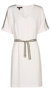 Marie Mero off white dress with khaki trim and belt DR10/145