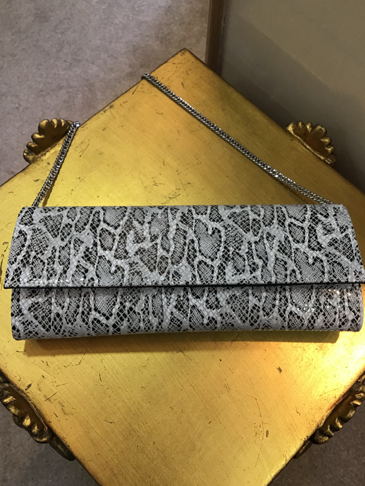 Lisa Kay Mary Black & White Python Clutch Bag