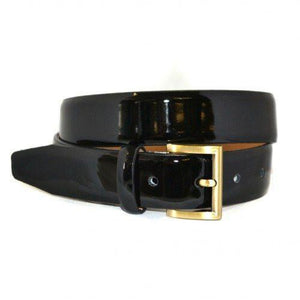 Addison Road - Aurora - Womens Black Genuine Leather Patent Belt with Gold Buckle