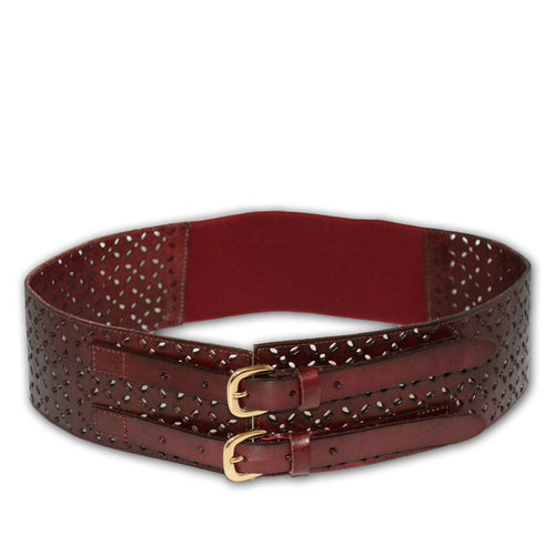 Addison Road - Double Buckle Waist Belt Stretch Wine