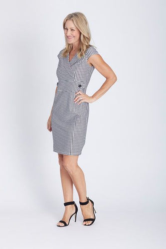 OPM - Stella Button Squiggle Dress White and Black - JOD23634