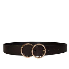 Load image into Gallery viewer, Townsville Womens Dark Brown Double Ring Leather Belt