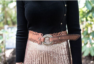Art N' Vintage - Tasha Tan Genuine Leather Belt