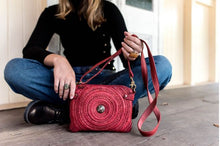 Load image into Gallery viewer, Art N' Vintage - Twyla Double Cross Body Red Geniune Leather Bag
