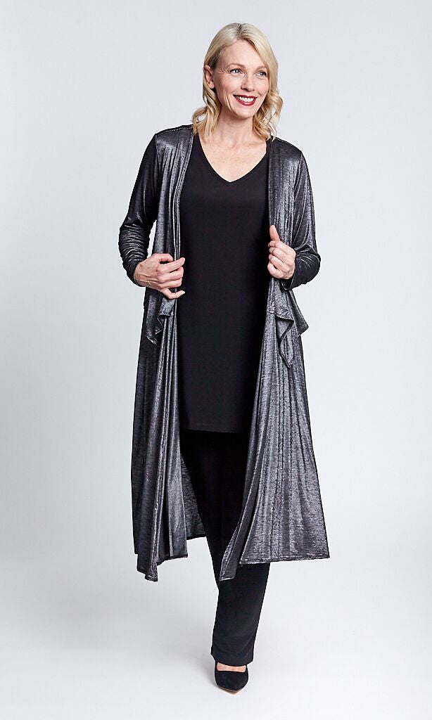 OPM - Shimmer Long Silver Duster - KOJ24323