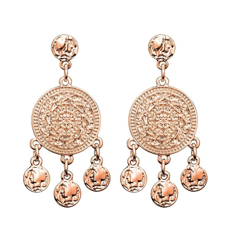 Earrings - filigree coin rose gold -  DPI AFE8