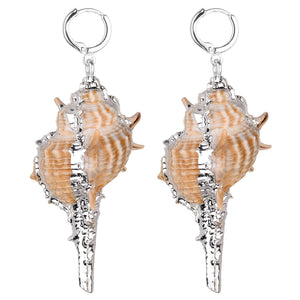 GXG Collective - Margaret Natural Conch Shell Earrings in Silver