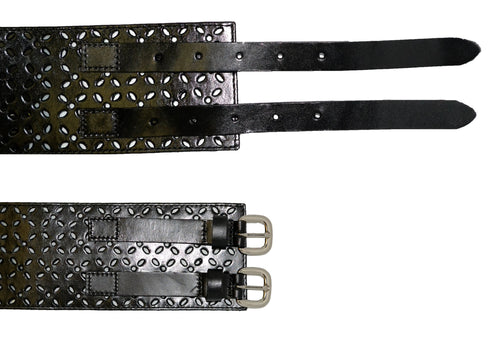 Addison Road - Double Buckle Waist Belt Stretch Black
