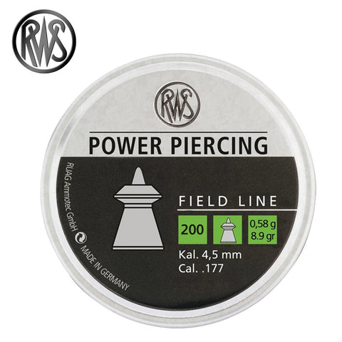 RWS Power Piercing .177 Cal, 8.9 Grains, Pointed, Hollow-Point, 200ct