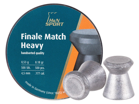 H&N Finale Match Heavy .177 Cal, 8.18 Grains, 4.5mm, Wadcutter, 500ct