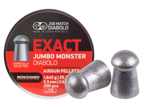 JSB Exact Jumbo Monster Redesigned .22 Cal, 25.39 Grains, Domed, 200ct