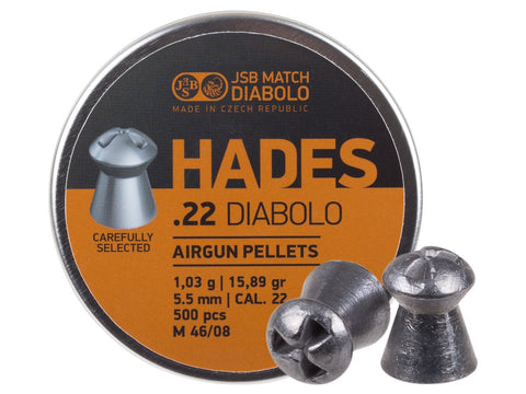 JSB Match Diabolo Hades .22 Cal, 15.89 Grain, Hollowpoint, 500 Count