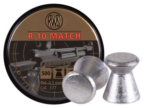 RWS R-10 Match Heavy .177 Cal, 8.2 Grains, Wadcutter, 500ct