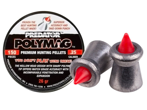 Predator Polymag .25 Cal, 26 Grains, Pointed, 150ct