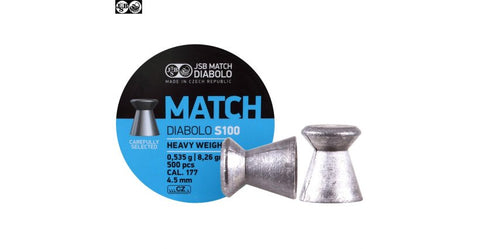 JSB Match S-100, .177 Cal, 8.26 Grains, Wadcutter, 500ct