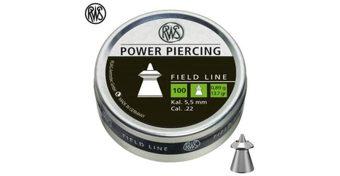 RWS Power Piercing .22 Cal, 13.7 Grains, Pointe, Hollow Point, 100ct