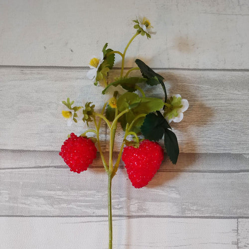 Strawberry Vine Faux Floral Stem
