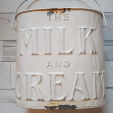 Load image into Gallery viewer, Milk and Cream Bucket Galvanized Metal