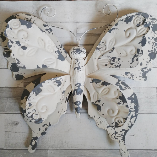 Weathered White & Metal Galvanized Butterfly