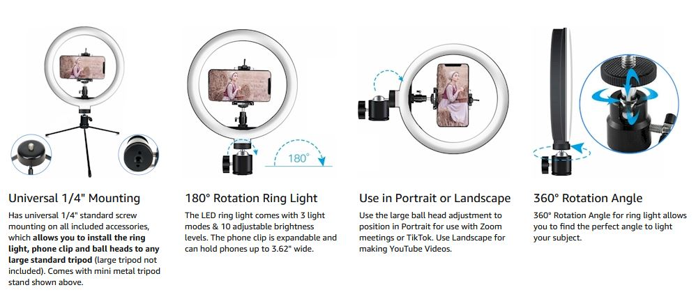 10 led ring light with stand and phone holder