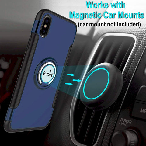 blue iPhone XR case with ring