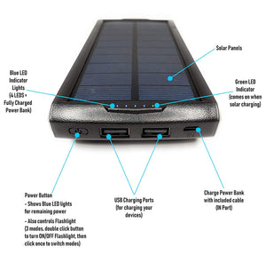 20000 mAh Solar Power Bank, Solar Phone Charger iPhone