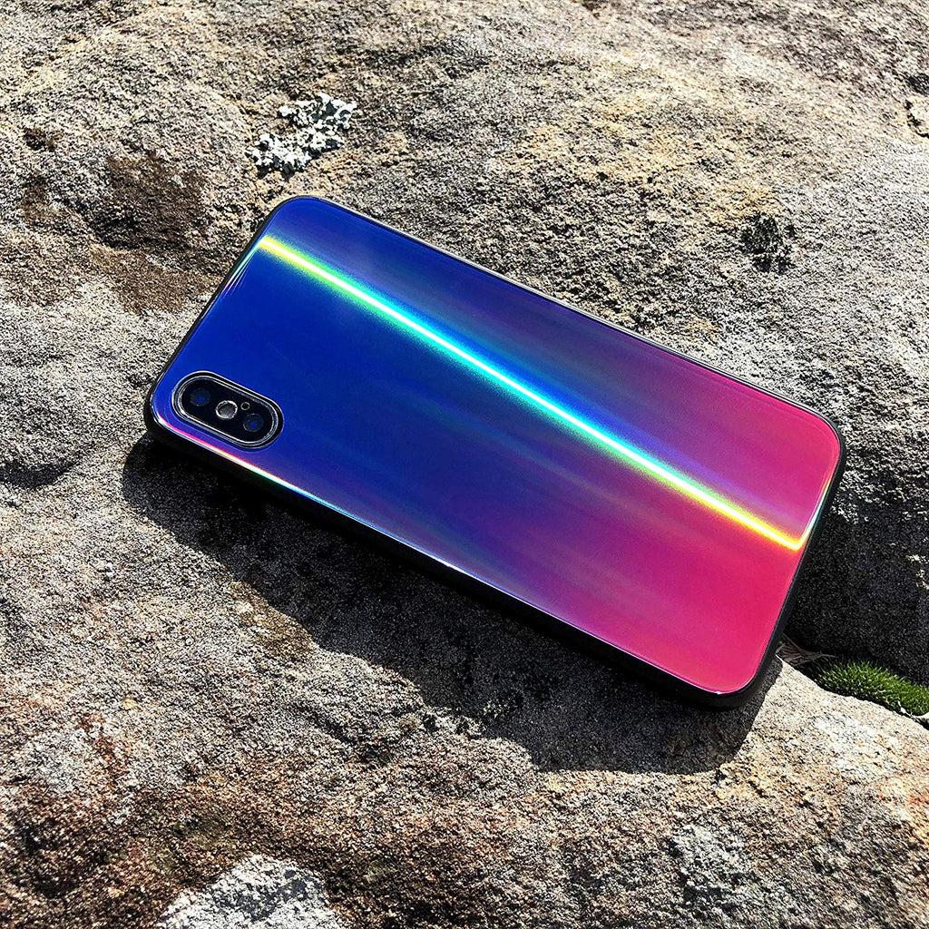 iPhone Xs Max Silicone Case Holographic Glass Case