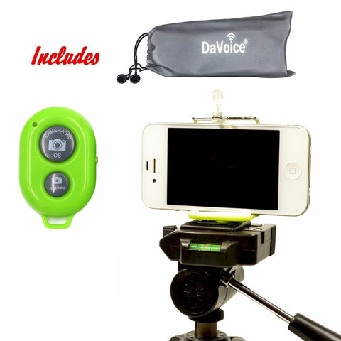 Image of green iphone tripod mount with remote