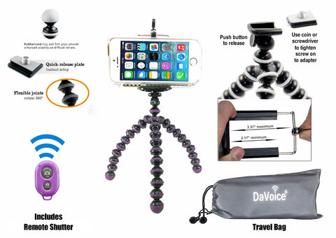 flexible iphone tripod purple