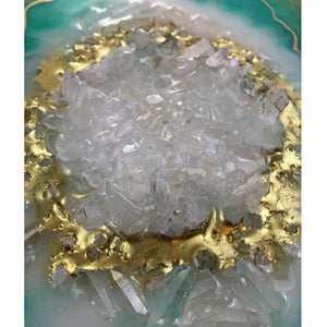Geode Decor - Teal Gold Quartz Crystal