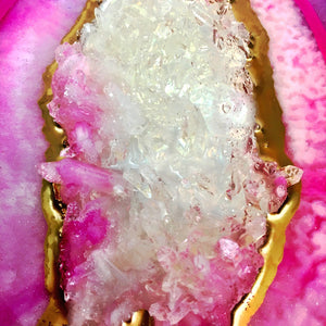 Geode Decor - Purple Pink White Gold