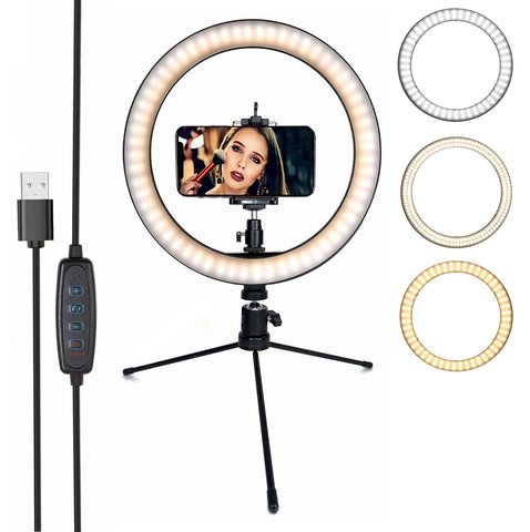 Image of led ring light with tripod stand