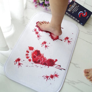 Blood Footprint Bath Mat Door Mat Scary Horror