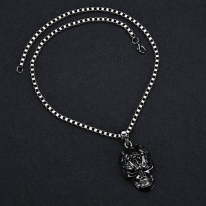 Stainless Steel  Skull Necklace - The Lazy Raven