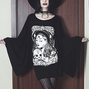 Plus Size Harajuku Casual Sexy Punk Black Gothic Long t shirts Women Loose Flare Sleeve Print Cartoon Female Goth 2019 Top Tees