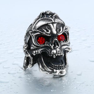 Red Eye Skull Ring - The Lazy Raven