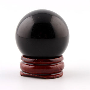 35m Black obsidian Fluorite Crystal Ball - The Lazy Raven