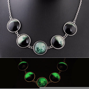 Moon Cycle Glowing Necklace - The Lazy Raven