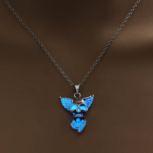 Winged Glowing Skull Necklace - The Lazy Raven