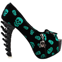 Lazy Raven Punk Black Platform Bone Heels